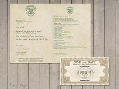 Wedding invitation Set Harry Potter Save the by SophiesLoveBirds