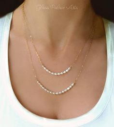 Double Strand Pearl Necklace - Multi Strands of Freshwater Pearls - Gold, Sterling Silver or Rose Gold