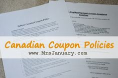 Coupon Policies Canada. awesome blog. she updates all the coupon policies for the different stores