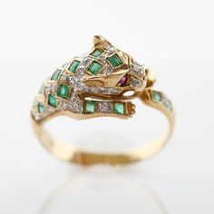 Emerald, diamond and ruby panther #ring #EBTH #vintage