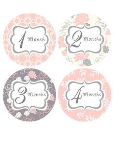 Monthly Baby Stickers Girl Baby Month Sticker INSTANT DOWNLOAD Pink Grey Floral…