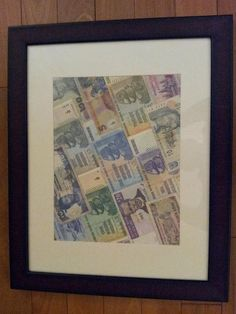 display your foreign money.  -frame from Walmart, glued money overlaping each other with scrapbook glue.