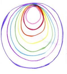 Waldorf ~ 5th grade ~ Form Drawing ~ Freehand Geometry ~ #14 Draw a circle and then fill it in with colored circles of varying size ~ main lesson book