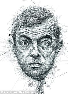 Artist scribbles portraits of famous dyslexics to highlight condition. Artist and illustrator Vince low, from Kuala Lumpur, creates artistic order from the chaos of pen lines to produce stunning portraits of famous faces.