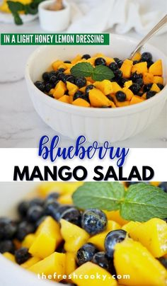 Juicy sweet mangoes, firm ripe blueberries swimming in a light honey, lemon and orange dressing. The brightest and best fruit salad of the summer! Make vegan by replacing the honey with maple syrup or agave. Perfect for breakfast, brunch or with dinner. Recipe via @thefreshcooky | #easysalad #easyrecipes #glutenfree #veganoption