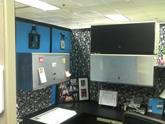 I gotta decorate my cubicle some time soon! Cute Cubicle, Office Cubicle, Decorate My Cubicle, Cubicle Organization, Cubicle Design, Cube Decor, Cubicle Makeover, My Workspace, Cute Office