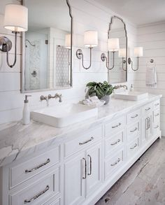 Shiplap bathroom wall with white cabinetry, white marble countertop, wall mount faucet and rustic looking floor tile. shiplap-bathroom-wall-with-white-cabinetry-and-rustic-looking-floor-tile Tracy Lynn Studio bathroom ideas Shiplap Bathroom Wall, Rustic Master Bathroom, Budget Bathroom, Mirror Bathroom, Bathroom Remodeling, Bathroom Lighting, Remodeling Ideas, Bathroom Interior, Bath Mirrors
