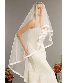 Elegant Ivory One Layer Satin Edge Simple Cheap Wedding Veil 1.5M Length Wedding Accessories Veils For Bride