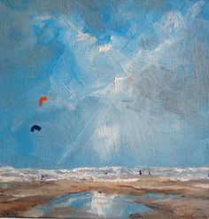 """Saatchi Online Artist: W Van de Wege; Acrylic, 2012, Painting """"Beach september 2012"""""""