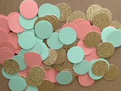 Gold glitter, green mint, & coral/peach circle confetti, baby shower bridal shower birthday party wedding by SewBotGirl on Etsy https://www.etsy.com/listing/231117414/gold-glitter-green-mint-coralpeach