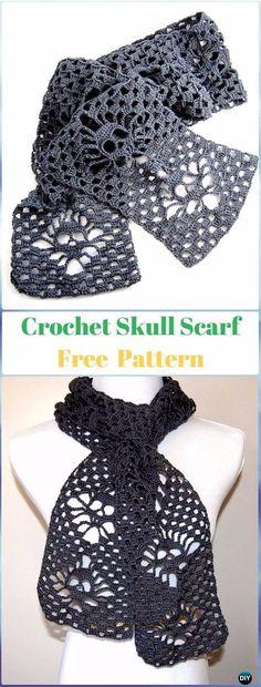 Narrow Crochet Skull Scarf Free Pattern - Crochet Skull Ideas Free Patterns