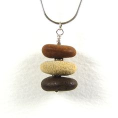Beach Pebble Necklace Stack on Sterling Silver £20.00 #craftfest - Creative Connections