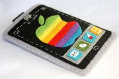 Apple iPhone felt case - Rainbow Color - FREE shipping