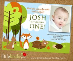 WOODLAND FOREST Birthday Invitation with Animals...Fox Deer Squirrel Birds and Porcupine Any age. Printable File. $15,00, via Etsy.