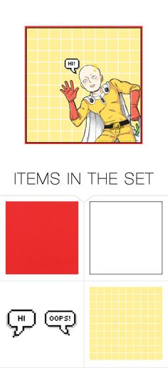 """Hi!"" by carebear-chan ❤ liked on Polyvore featuring art, anime, opm, onepunchman and saitama"
