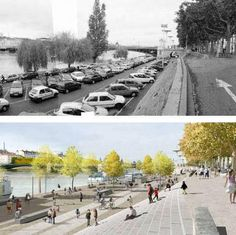 Banks of the Rhone River, Lyon, before and after the 2005-7 redesign. Click image for link to full story and visit the slowottawa.ca boards >> https://www.pinterest.com/slowottawa/