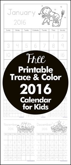 Trace and Color Printable 2016 Calendar for Kids {FREE}
