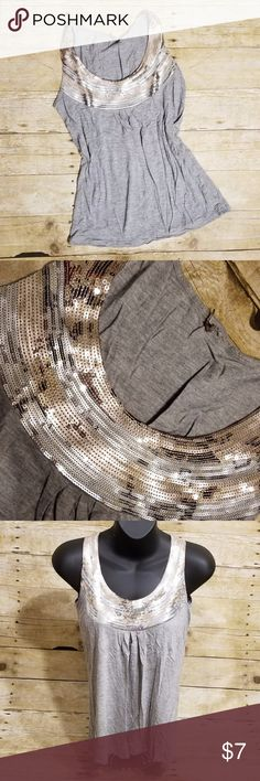 """Sequin Tank . No label / size . Would guess a small but double check measurements . Very cool sequin band across top of chest - can dress this tank up or down! . Length 21"""" / Chest 13.25"""" across Tops Tank Tops"""