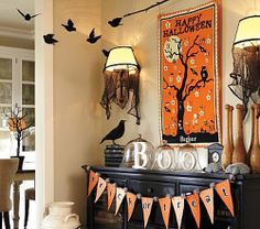 Pottery barn halloween calendar and buffet decor