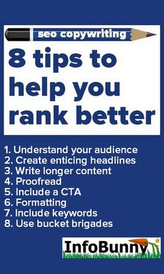 In this new Infobunny article we share with you 8 tips on SEO copywriting that can help you rank better in 2019 and beyond. So let's get started!