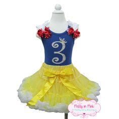 "Bling Fairest Of Them All ""Snow White Inspired"" Pettiskirt Outfit $64.99 #disneyprincess #birthdaygirloutfits #snowwhite #kidsfashion #tutus #disneyoutfits"