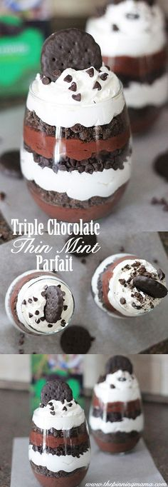 This is too easy to make! Obsessed Triple Chocolate Thin Mint Parfait Recipe a yummy dessert is part of Desserts - Easy To Make Desserts, Just Desserts, Delicious Desserts, Dessert Recipes, Yummy Food, Frozen Desserts, Cake Recipes, Oreo Dessert, Dessert Food
