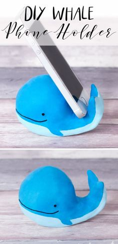 DIY phone holder craft idea, air dry clay whale craft, fun crafty ideas - easy to make, instructions from doodleandstitch