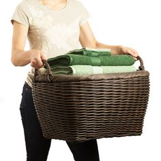 Oval Wicker Laundry Basket - beautiful for pool towels