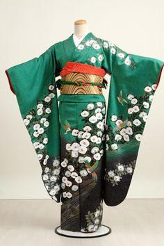Rakuten: [Coming of age ceremony kimono] long-sleeved kimono rental 105 s Green w/ White camellias [quinceañera] [full set] [2014 book unrea...