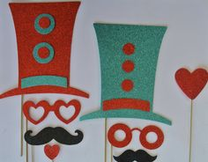 Wedding Photo Booth Party Props Circus Theme Red and Teal Mustache on a stick Photo Booth Party Props, Baby Shower Photo Props, Baby Shower Photos, Wedding Photo Booth, Wedding Photos, Carnival Theme Crafts, Circus Theme Party, Circus Birthday, Party Themes