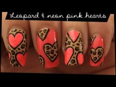 Leopard & Coral Hearts nail art