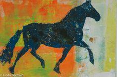 Ride on - a gelatin print for the ICAD - Linda Germain Printmaking