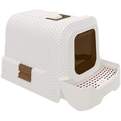 The Covered Litter Box offers your cat total privacy. Made of durable plastic in a faux wicker design, this litter box has a wide opening for easy access. Includes a removable pan, scoop and litter removal bags for easy cleaning. Hooded Litter Box, Cat Litter Pan, Hidden Litter Boxes, Best Litter Box, Cleaning Litter Box, Cat Pee, Pet Supply Stores, White Wicker, Pet Mat