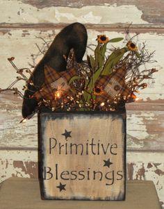 Primitive wood decor, Rustic Primitive Arrangements, Wood Ruffles and Lace Primitives