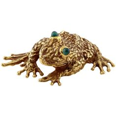 E. Pearl Emerald Gold Frog Brooch | From a unique collection of vintage brooches at https://www.1stdibs.com/jewelry/brooches/brooches/