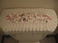 Aunt Roo's MINI Floral Papillon (Butterfly) fabric runner w/ crocheted edging for toilet tank or small shelf...