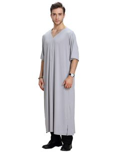 Muslim Arab Middle East V-neck men robe muslim thobe mens arabic clothing  thobe men muslim men robe man dress saudi 8ec4ef3f1
