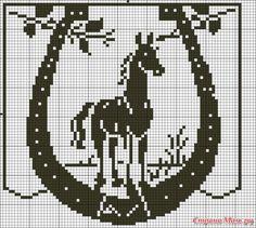 Knitting Charts, Knitting Patterns, Embroidery Patterns, Cross Stitch Patterns, Crochet Table Runner Pattern, Fillet Crochet, Crochet Curtains, Horse Pattern, Chart Design