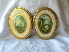 FLORENTINE GOLD PICTURES Oval wall decor Pictures Lot of two Stamped Made in Italy by StudioVintage on Etsy