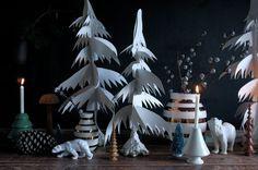 Christmas table decoration by LabDecor with christmas trees and Royal Copenhagen ice bears