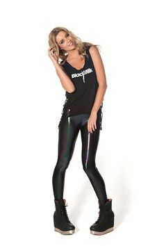 Oil Slick Black / Rainbow Leggings - LIMITED by Black Milk Clothing