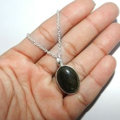 Rare Gold Sheen Obsidian Gemstone Sterling 925 Silver Pendant Jewelry with Chain #Handmade #Pendant