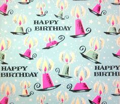 Vintage Wrapping Paper  Happy Birthday Candles by TillaHomestead
