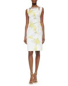 Carolina Herrera Sheer-Inset Floral-Print Dress