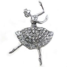 Clear Dancing Ballerina Dancer Ballet Dance Pin Brooch Charm Silver Tone Designer Teens Girls Ballet Jewelry Soulbreezecollection. $9.99. Stone: Clear (Colors May Vary Due To Different Display Settings). Nickel and Lead Free / Lead Compliant. Condition: Brand New. Brooch Size: Approx 1.75 Inch Width x 1 Inch Length. Material: Rhodium Plated