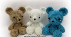 Hello Friends!   This bear is approximately  6-8 inches tall in a sitting position depending what on yarn weight and hook size. Th is Bea...