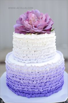 The French Tangerine Wedding cake.this screams my sister, HEATHER! Purple Cakes, Purple Wedding Cakes, Fall Wedding Cakes, Wedding Ideas, Pretty Cakes, Beautiful Cakes, Amazing Cakes, Cake Cookies, Cupcake Cakes