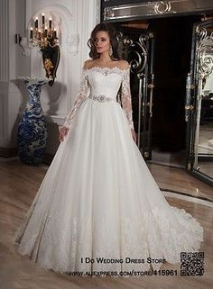 Robe-Mariage-Ivory-Lace-Wedding-Dresses-Long-Sleeve-Off-Shoulder-Bridal-Gown