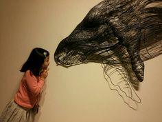 혹등고래 멸종위기 와이어 조각작품 미술관 용접