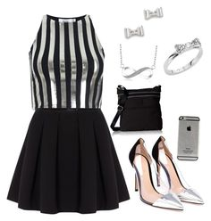 """""""Silver and black"""" by littornah ❤ liked on Polyvore featuring beauty, Bundy & Webster, Polo Ralph Lauren, Gianvito Rossi, Tommy Hilfiger, Kate Spade and Marc by Marc Jacobs"""